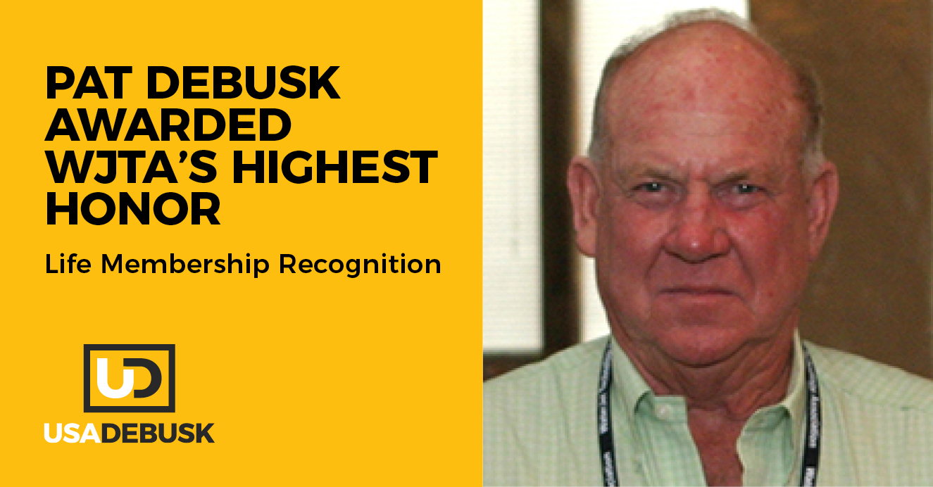 Pat DeBusk recently received Life Membership recognition from the Waterjet Technology Association (WJTA)